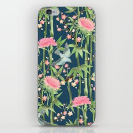 Bamboo, Birds and Blossom - dark teal iPhone Skin