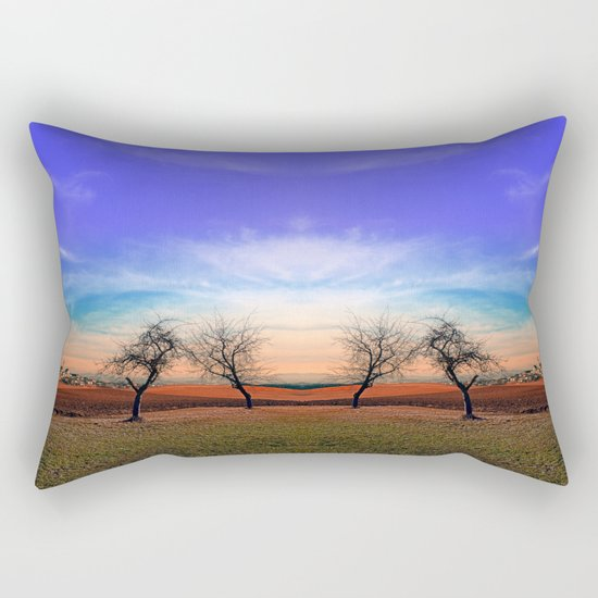 Trees, sunset, clouds, panorama and village   landscape photography Rectangular Pillow
