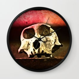 Baboon Skull Sunset Wall Clock