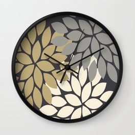 Bold Colorful Gold Ivory Charcoal Grey Dahlia Flower Burst Petals Wall Clock