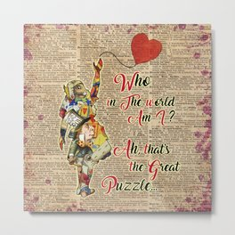 """Vintage Alice in Wonderland Collage """"Who In The World Am I.."""" Quote Metal Print"""
