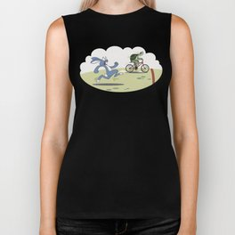 """Turtle and rabbit race"" Biker Tank"