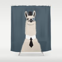 lama Shower Curtains featuring Sir Lama by Ronja Levinsson