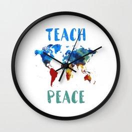 "Peace Shirt For Anyone ""Teach Peace"" T-shirt Design Gun Control T-shirt Peace Love Shooting Wall Clock"