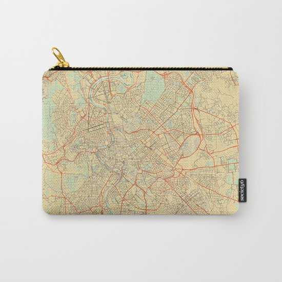 Rome Map Retro Carry-All Pouch
