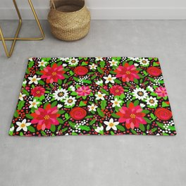 Christmas Flowers and Holly, Poinsettia, Roses and Lilies, holidays, girls floral gift, gift for mom Rug