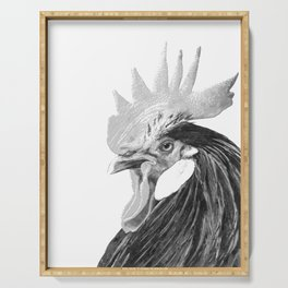 Black and White Rooster Serving Tray