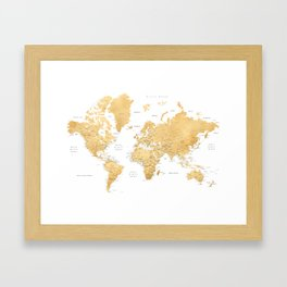 Gold world map with cities Framed Art Print