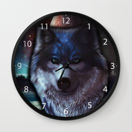 Wolf face in space,Blue wolf painting Wall Clock