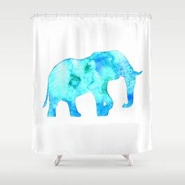 blue/green elephant Shower Curtain