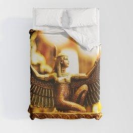 Golden Egyptian Goddess Statue Duvet Cover