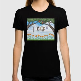 robins, poppies, & teddy bears on the line T-shirt