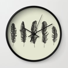 Lucky Five Feathers Wall Clock