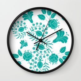 Elegant lace floral with swirls, roses, tulips, leaves, berries. Wall Clock