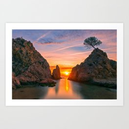 Sunrise in the village of Tossa de Mar, Costa brava, Girona Art Print