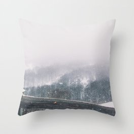 snow and mist in the trees Throw Pillow