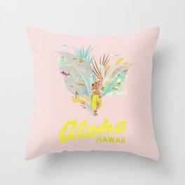 Aloha, Hawaii (Pink) Throw Pillow