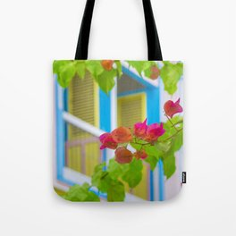 Colored Flowers in Front of Windows House Tote Bag