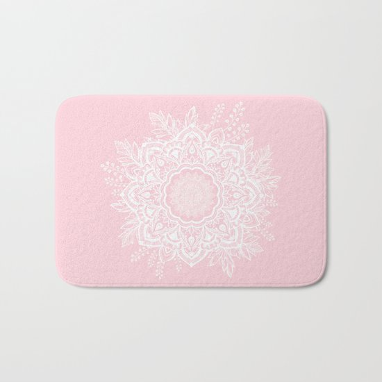 Mandala Bohemian Summer Blush Millennial Pink Floral illustration Bath Mat
