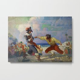 """""""The Duel on the Beach"""" by NC Wyeth Metal Print"""