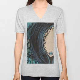 My Mermaid. Original Painting by Jodilynpaintings. Figurative Abstract Pop Art. Unisex V-Neck