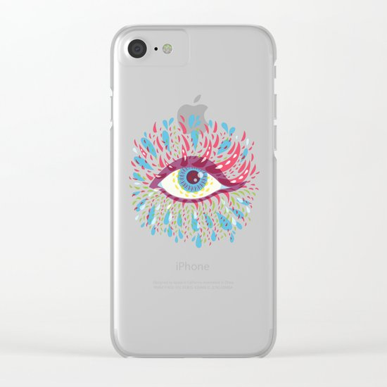 Weird Blue Psychedelic Eye Clear iPhone Case