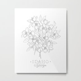 Idaho Sketch Metal Print