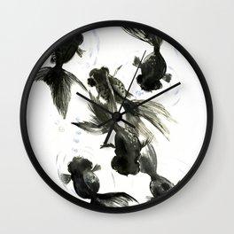 Koi, Black Moor, Feng Shui art, C Wall Clock