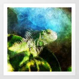 Blue And Green Iguana Profile Art Print