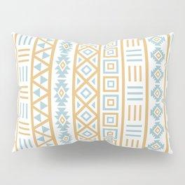 Aztec Influence Pattern Blue White Gold Pillow Sham