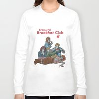 breakfast club Long Sleeve T-shirts featuring Brains for Breakfast Club (white) by Ayota Illustration