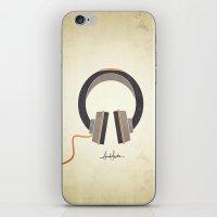 headphones iPhone & iPod Skins featuring Headphones by Sarah Rodriguez