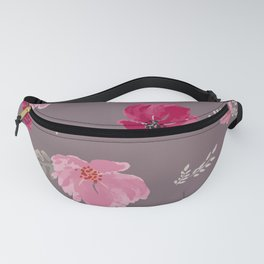 Watercolor pink & red peonies on dusty pink background Fanny Pack