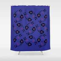 occult Shower Curtains featuring Occult Fish by Lucky Nothin