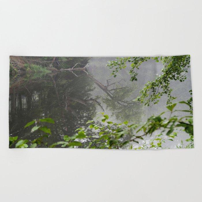Foggy Morning Beach Towel