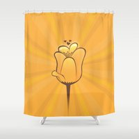 tulip Shower Curtains featuring Tulip by Slugbunny