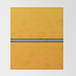 NY Taxi Cab Yellow with Black and White Check Band Throw Blanket