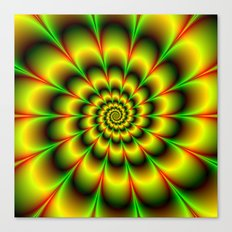 Spiral Rosette in Yellow Green and Red Canvas Print