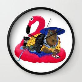 Capybara Chilling on Pink Flamingo Swimming Circle Wall Clock