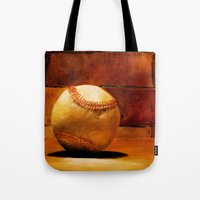 baseball Tote Bags featuring Baseball by Michelle Sauer