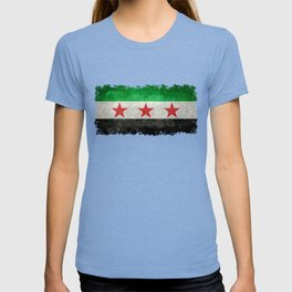 Independence flag of Syria, vintage retro style T-shirt