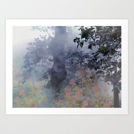 magical forest with ghostly flowers Art Print