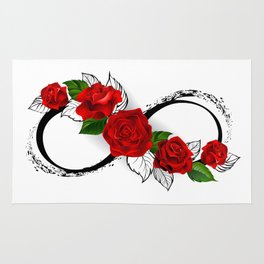 Infinity Symbol with Red Roses Rug