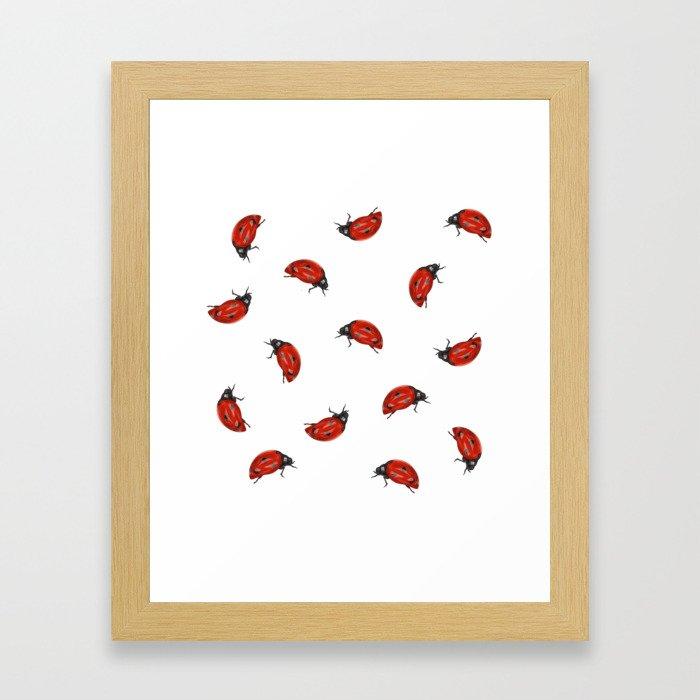 Ladybug Pattern Framed Art Print