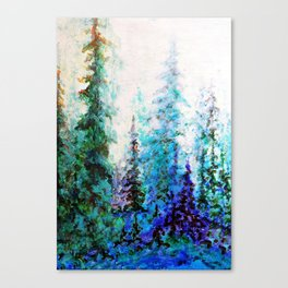Mountain Landscape Pines In Blue-Greens-Purple Canvas Print