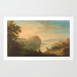 Adolf Friedrich Harper attributed 1725 - Berlin -1806 Stretch riverside in the evening light Art Print