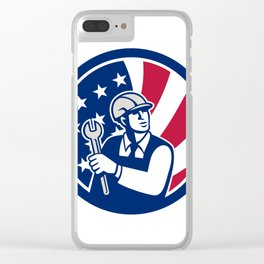 American Engineer USA Flag Icon Clear iPhone Case