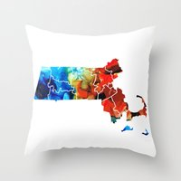 patriots Throw Pillows featuring Massachusetts - Map Counties By Sharon Cummings by Sharon Cummings