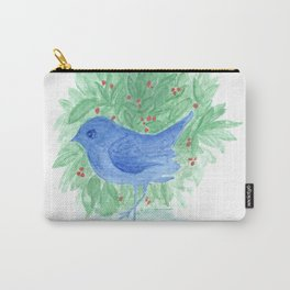 Blue bird and shrub watercolor painting Carry-All Pouch