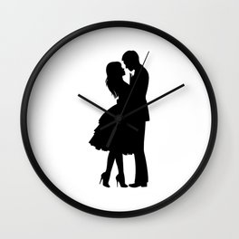 Couple Drawing Sketch Print One Line Art, Modern Minimalist Abstract Prints Continuous Line Art Wall Clock